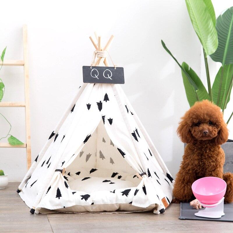 JORMEL 2019 tente pour animaux de compagnie Chien Chat maison de jouet Chiot Tipi Portable Lavable Pet Lit Pin Motif Contient Pas Tapis