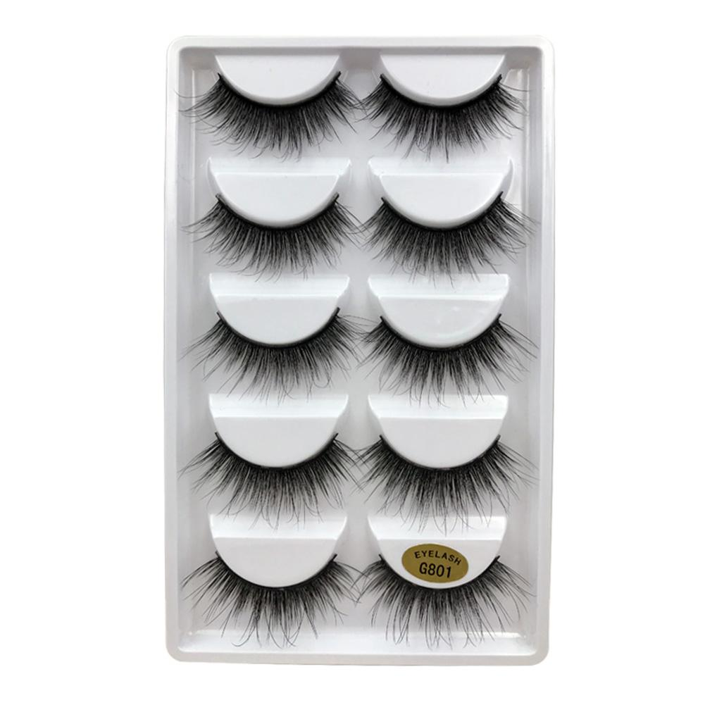 5 Pairs Handmade 100% Mink Hair False Eyelashes Natural Long Thick Voluminous Wispy Full Strip Eye Lashes Makeup Extension Tool