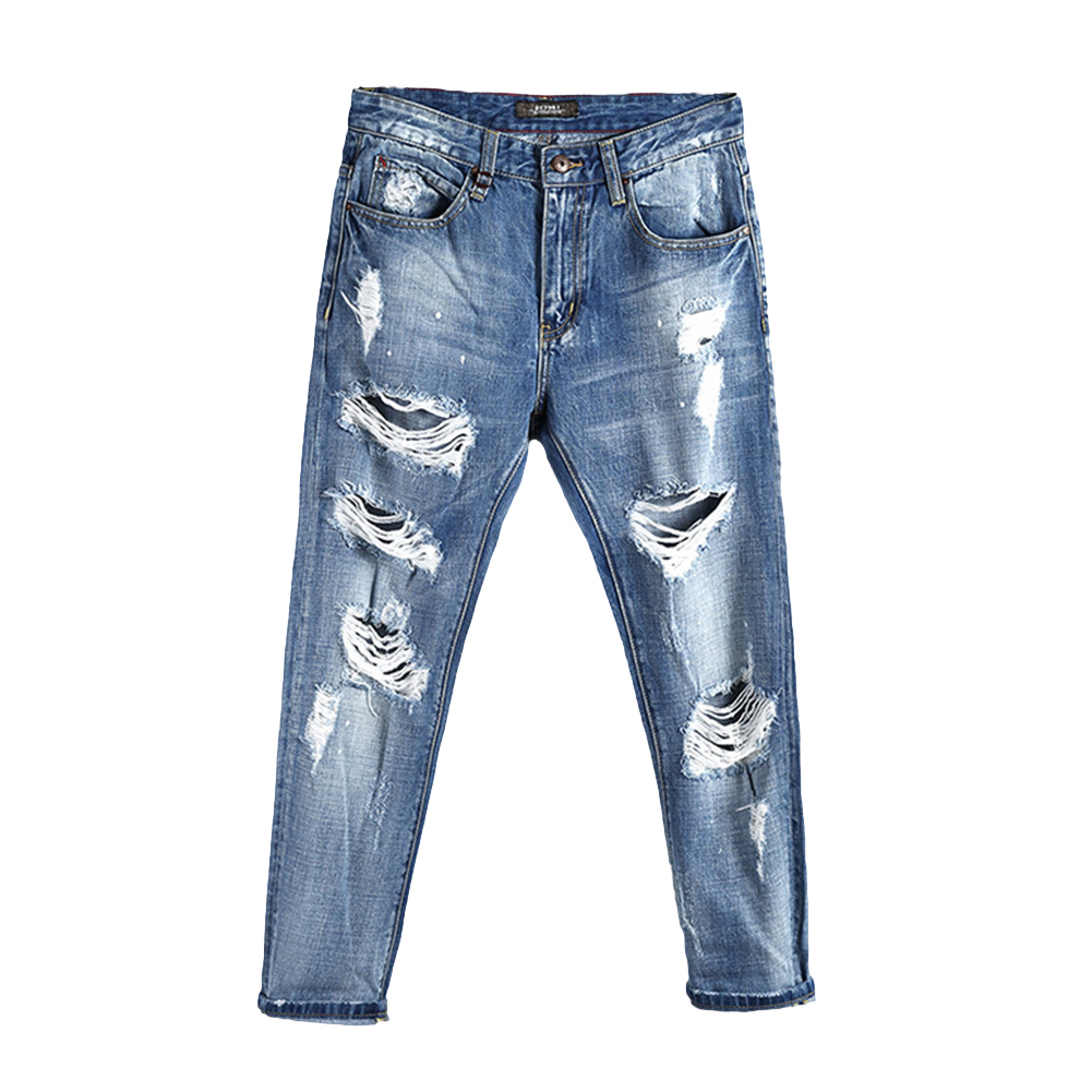 Fashion Men Spring Summer Denim Punk Hip Pop Ripped Jeans Loose Pants Streetwear
