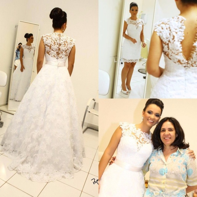 vestido noiva Vintage Ball Gown High Neck Sleeveless Long Wedding Bridal Gowns Removable Skirt 2 in 1 Style  Dress 2016