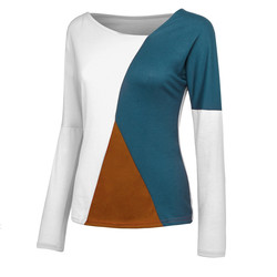t shirt women V-Neck Splicing Color Collision Plus Size Easy Tops camisa feminina long sleeve tshirt women  Tee Shirt Femme 6