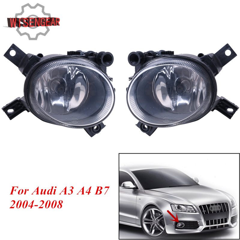 Left / Right Front Fog Light Foglamp Assembly For Audi A3 A4 B7 2004 2005 2006 2007 2008 Car Accessory P318 atreus 1pcs car center console armrest cover for audi a4 b6 b7 accessories for audi a4 2002 2003 2004 2005 2006 2007 3 colors