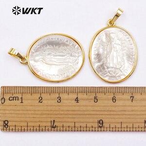 Image 5 - WKT классический Кулон овальной формы в религиозном стиле для изготовления ожерелий, оптовая продажа, с изображением матери и матери