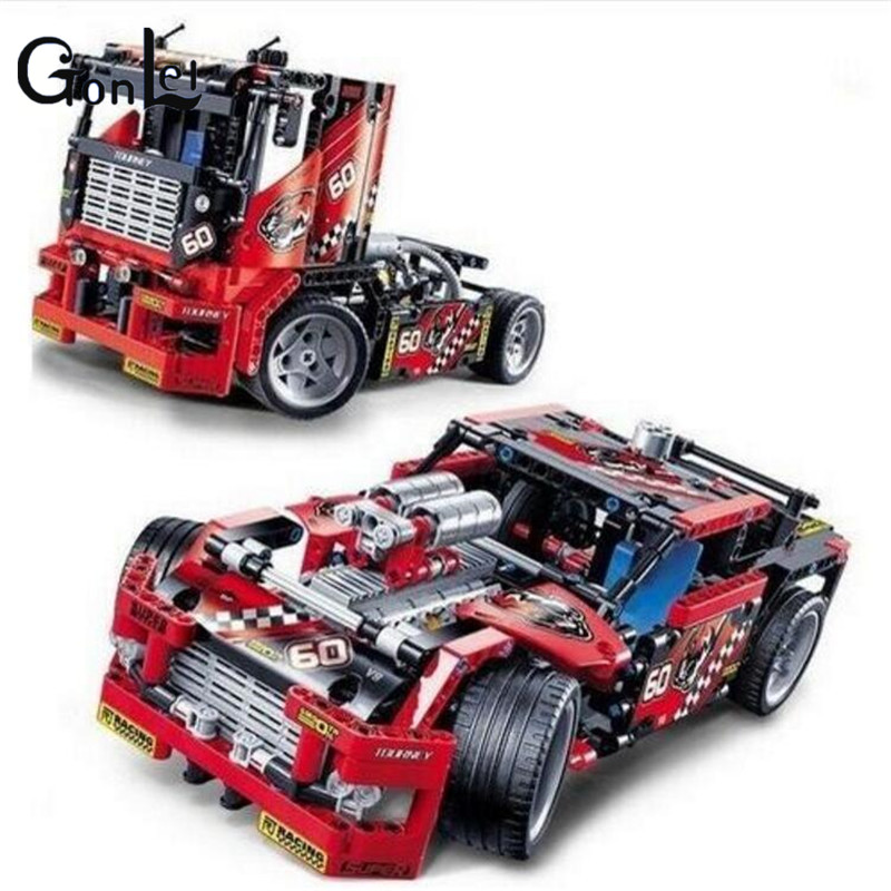 (GonLeI) 608pcs Race Truck Car 2 In 1 Transformable Model Building Block Sets Decool 3360 DIY Gift Toys Technic 608pcs race truck car 2 in 1 transformable model building block sets decool 3360 diy toys compatible with 42041
