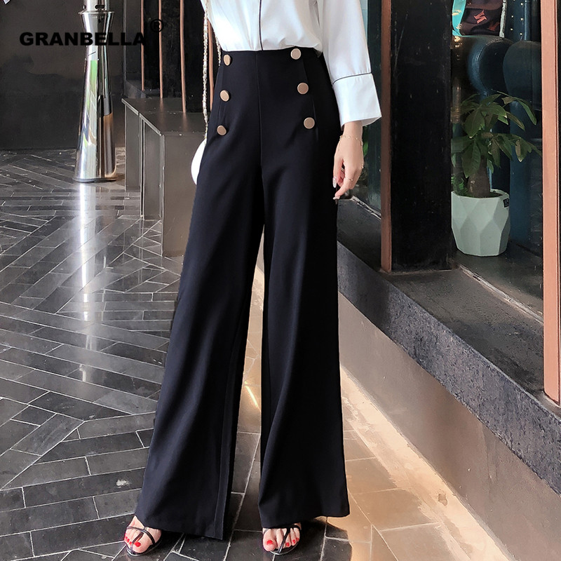 British OL style women's high waist   wide     leg     pants   casual loose female full length trousers with double gold buckles PA001