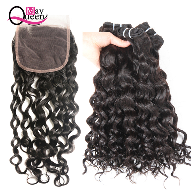 May Queen Brazilian Hair Weave Water Wave Bundles 44 Lace Closure