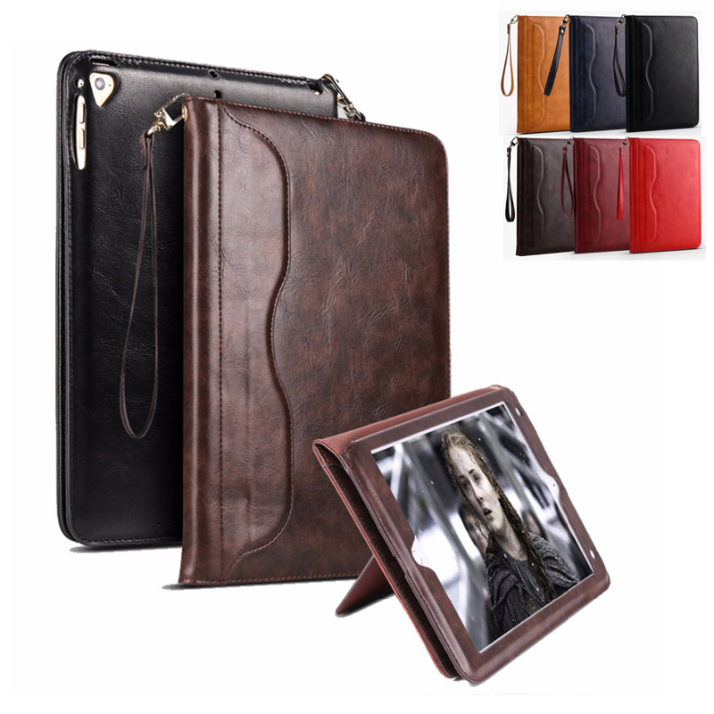 for ipad air 2 Case air 1 Premium Faux Leather Sleeve Retro Hand Belt Holder Stand Tablet Case Cover Folio Bag Auto Sleep