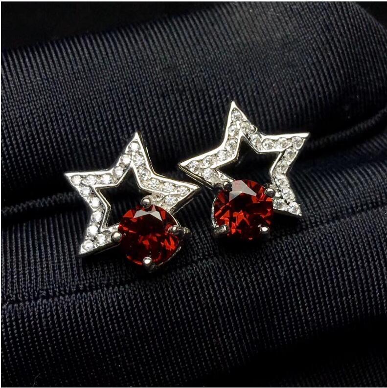 Star Style Garnet stud earring Free shipping Natural Garnet 925 sterling silver Fine gems jewerly m style ваза настольная gems