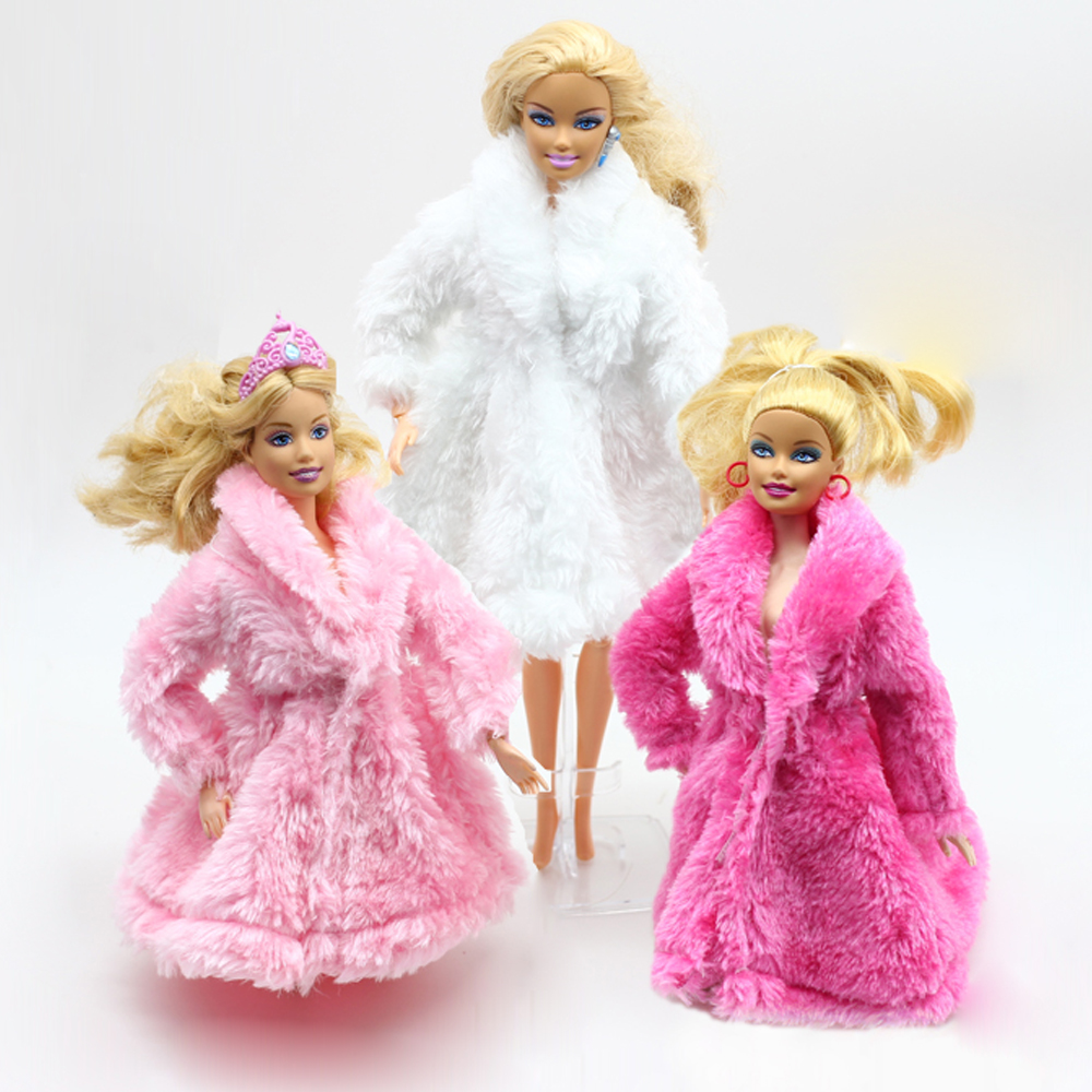 Kids Toy Doll Accessories Winter Warm Wear Pink Fur Coat Mini Clothes For Barbie Dolls Fur Doll Clothing