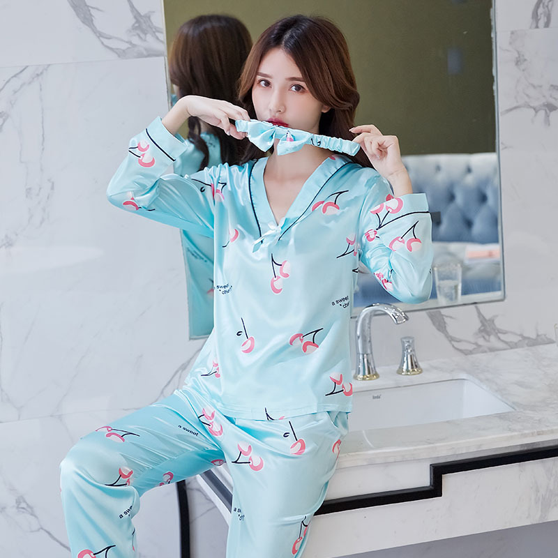 Women   Pajamas     Set   2 Piece Sweatshirt + Pants   Pajama     Sets   Sexy Lace V-Neck Homewear Sleep   Set   Ladies Pyjamas Sleepwear Loungewear