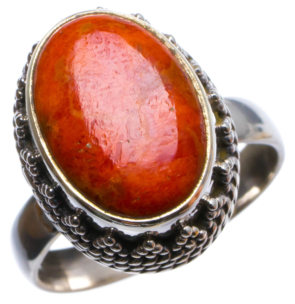 Natural Sponge Coral Handmade Unique 925 Sterling Silver Ring, US size 7 X2269