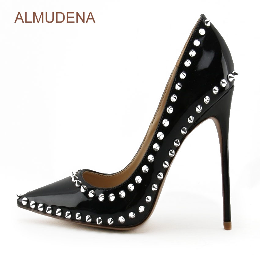 цена на ALMUDENA Awesome Brand New Siver Rivets Pumps Stiletto Heels Black Patent Leather Pointed Toe Banquet Shoes Popular Spike Shoes