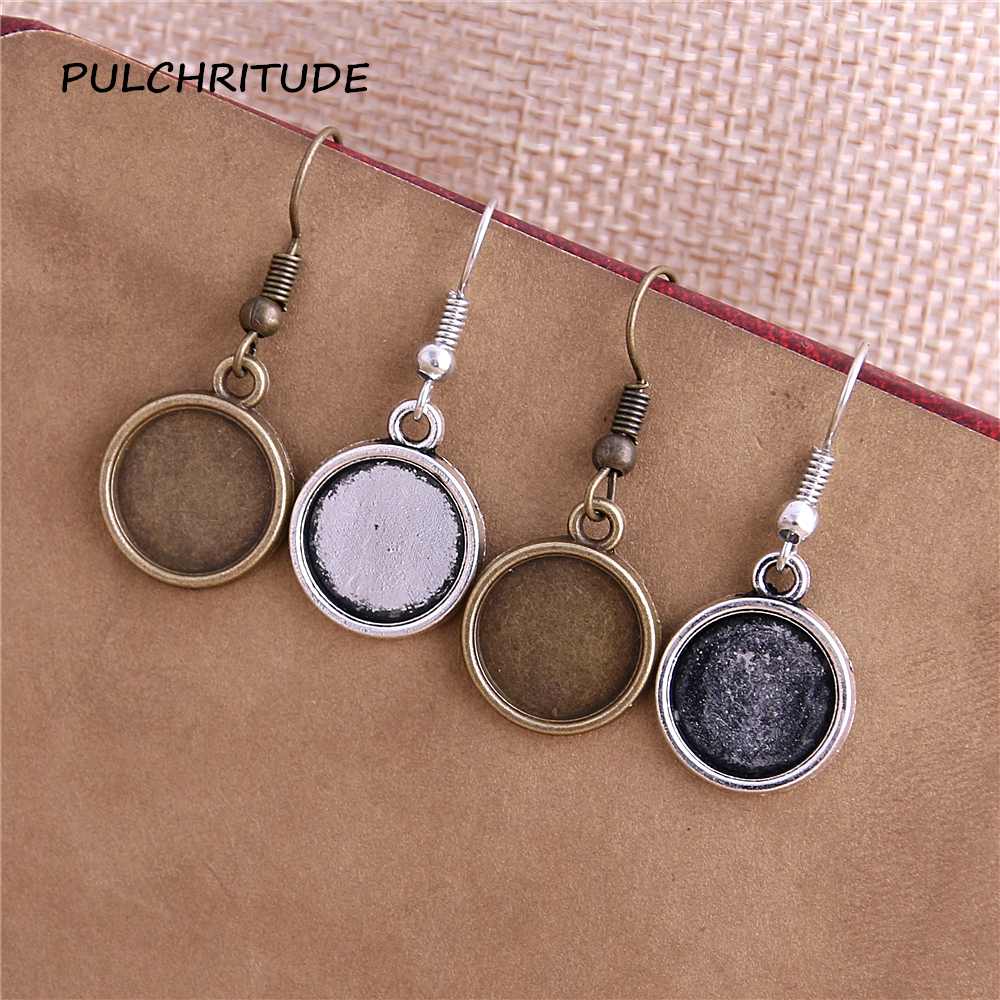 40pcs/lot 12mm Antique Bronze Alloy Round Dangle Earrings Hooks Cabochon Base Setting DIY Jewelry Findings Making Fittings T0611 1 pair fit 18x25mm oval shape glass cabochon zinc alloy dangle earrings hooks cabochon base setting diy jewelry findings making