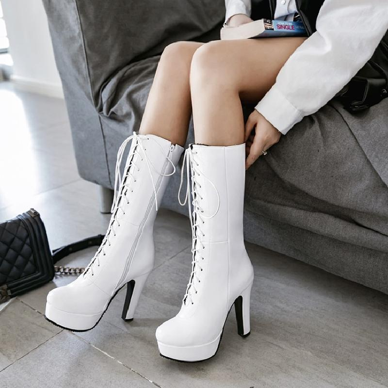 winter boots women mid-calf boots ladies high heel platform boots plus size fashion female sexy shoes woman free shipping &s-17 women ankle boots high heels 2016 fashion shoes woman platform flock zipper winter boots ladies shoes female botas plus size 43