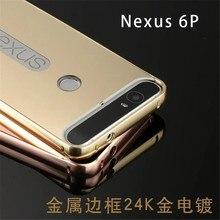 Luxury Gold Plating Armor Aluminum Frame + Mirror Acrylic Back Cover Phone Case For Huawei Nexus 6P Case Set Hot Phone Bag