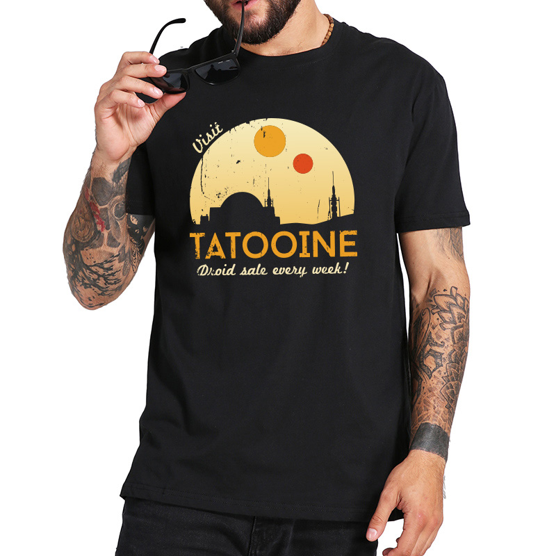 EU Size 100% Cotton T Shirt Star Wars Tatooine T-Shirt Comfortable Round Neck Tops Tee