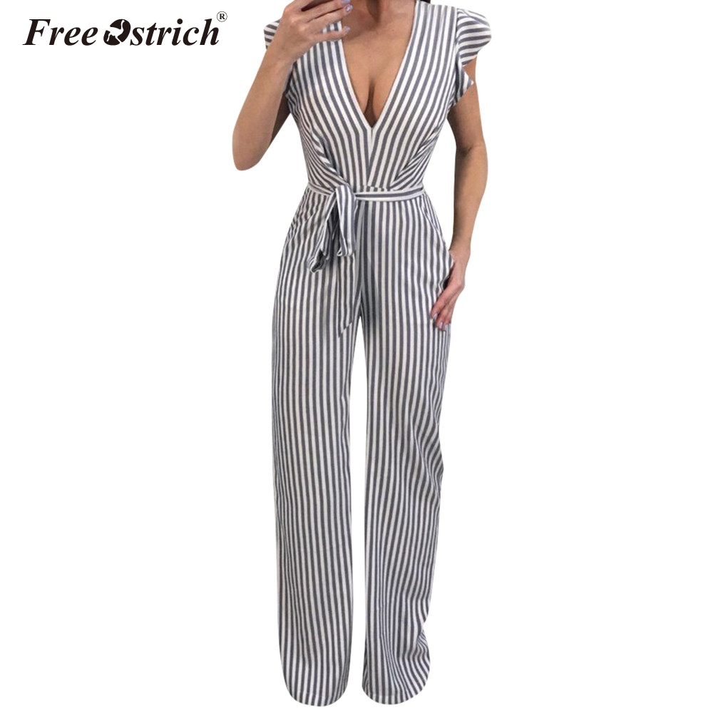 Free Ostrich Jumpsuit Women 2018 Summer Women Summer Sleeveless Striped Halter Ruffle Sexy Plus Size Jumpsuit N30