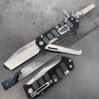 LAND 9047 Folding multi functional knife survival camping outdoor folding hunting saw tool knife 12Cr27MoV stainless steel