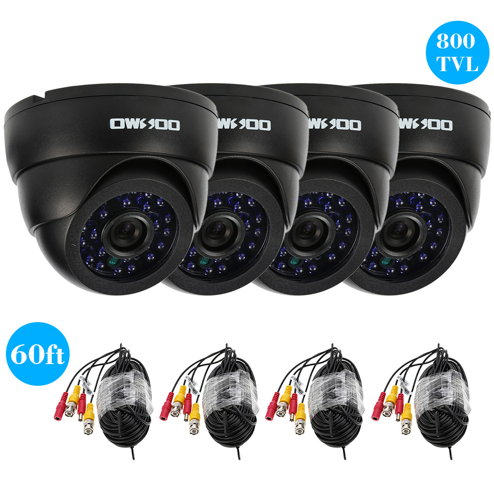 OWSOO 800TVL 4pcs CCTV Cameras Kit with 4pcs 60ft Cable 24LEDs IR CUT Night Vision Home