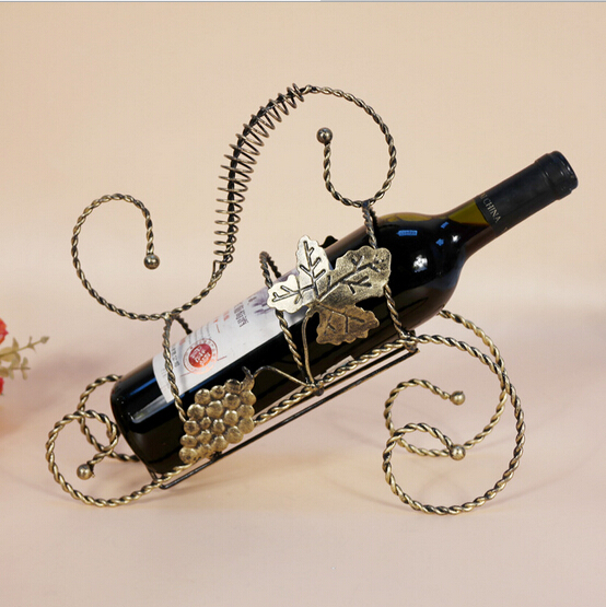 Whisky Champagne Wine Bottle Holder Bicycle Wine Rack Bottle Display Rack  Decorative Metal Wine Racks Bronze