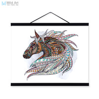 Modern Ancient African National Totem Animals Horse Head A4 Framed Canvas Painting Wall Art Prints Picture
