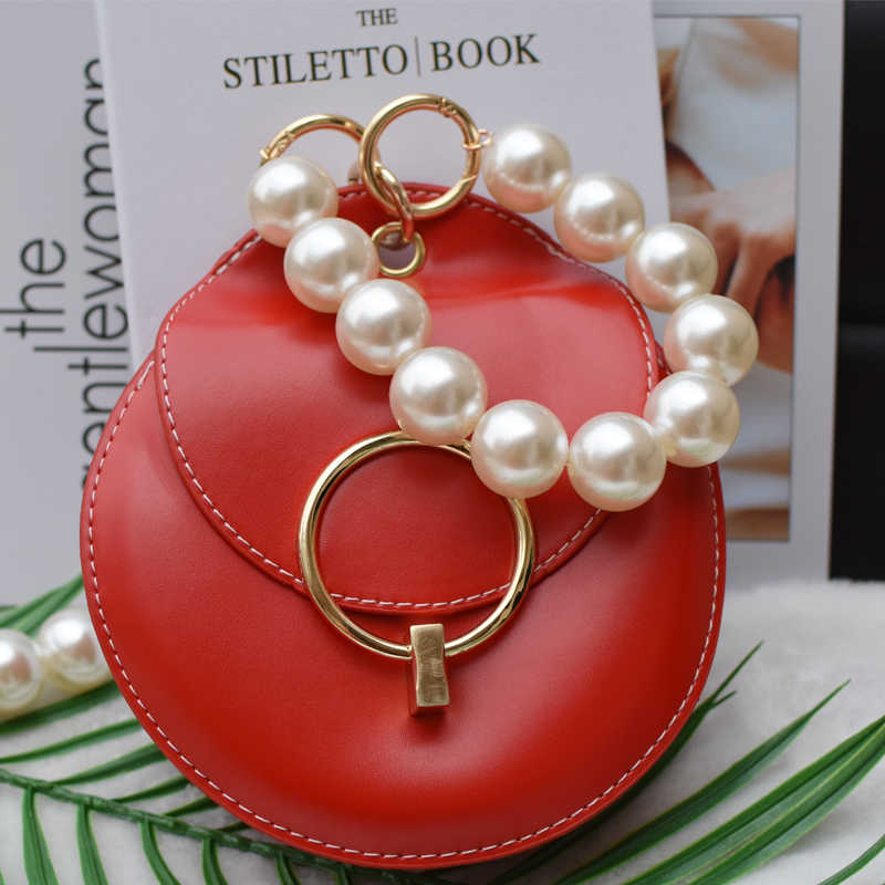 Nueva marca de correa con perlas para bolsos, accesorios para bolsos, monedero, asas para cinturón, bonito bolso de mano con cadena de cuentas, piezas para mujer, cierre plateado/dorado/negro