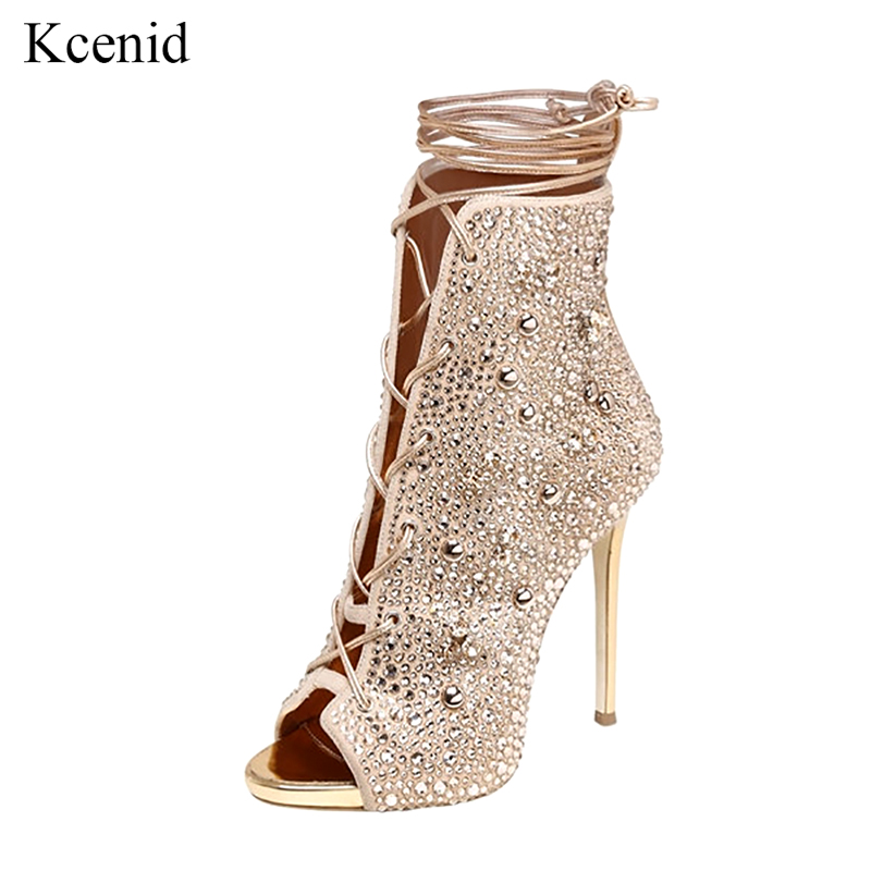 Kcenid New big size 33-43 gold silver rhinestone shoes woman 12cm thin high heels women ankle boots sexy peep toe lace-up pumps big size 40 41 42 women pumps 11 cm thin heels fashion beautiful pointy toe spell color sexy shoes discount sale free shipping