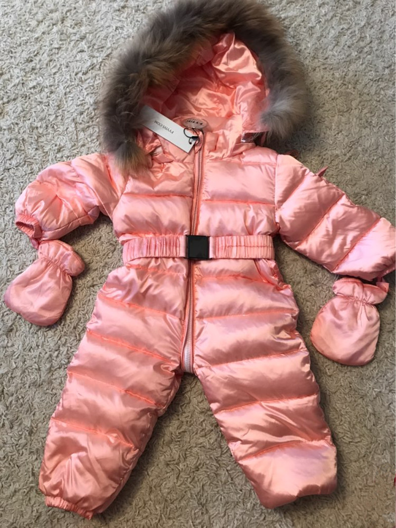 CHCDMP Children Winter Jumpsuit Duck Down Baby Rompers Fur Infant Girls Boys Overalls Hooded Kids Snowsuits Warm Baby Clothes