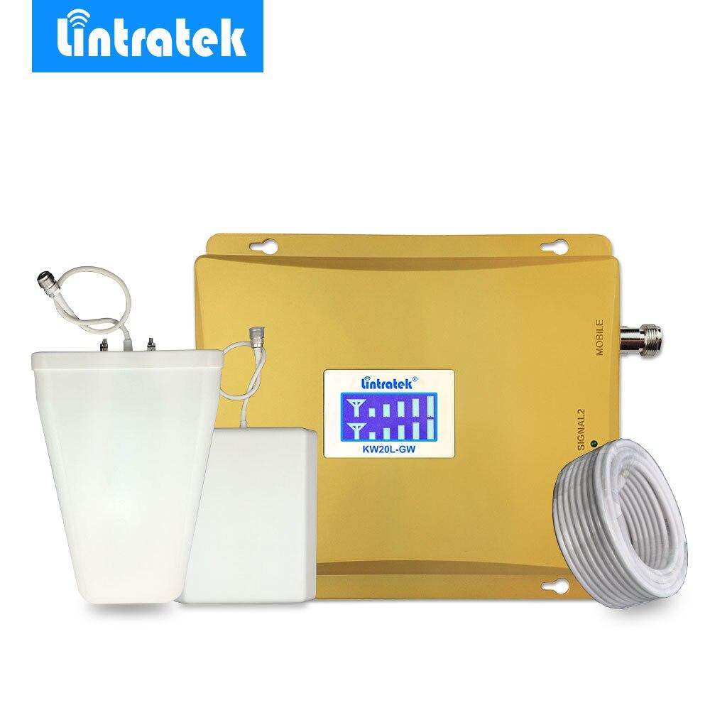 Lintratek усилитель сотовой связи 3G W-CDMA 2100MHz + GSM 900Mhz Dual Band мобильный телефон усилитель сигнала GSM 900 2100 UMTS репитер 3g