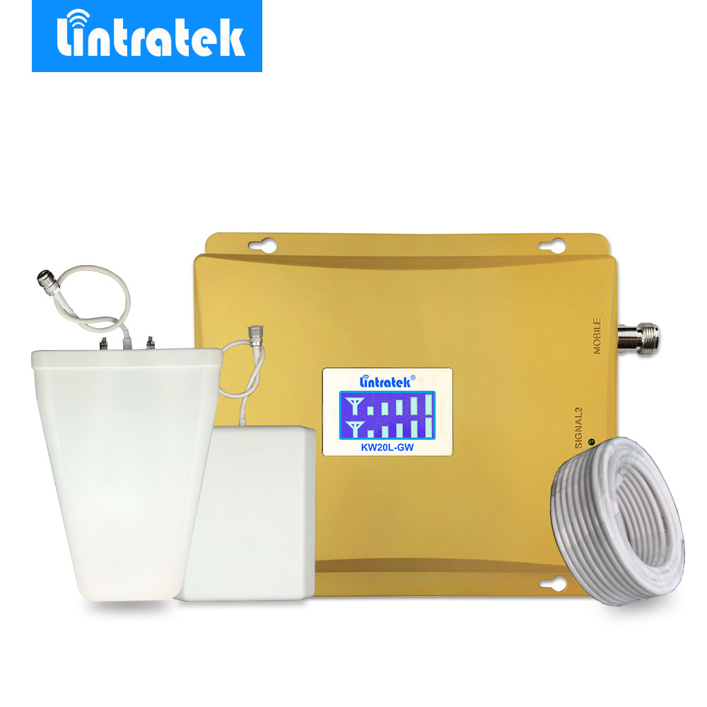 Lintratek 3G WCDMA 2100MHz GSM 900Mhz Dual Band Cellphone Cellular Signal Booster GSM 900 2100 UMTS Signal Repeater Amplifier#45