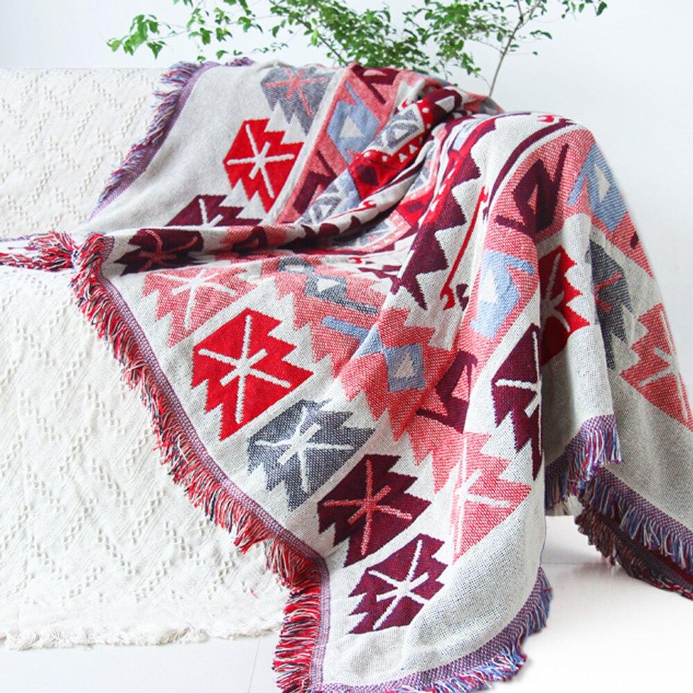 ESSIE HOME Kilim 카펫 소파 거실 용 침실 깔개 원사 염색 된 소파 핑크 담요 터키 민족 무늬 Bedpread Tapestry