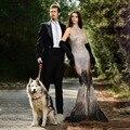 Gorgeous rebordear vestido de noche transparente con alta escote negro y astilla cristales sirena palabra de longitud vestido de lujo de largo