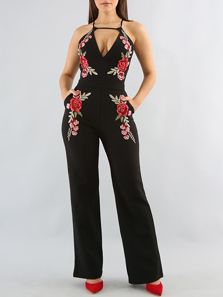 2017 High Fashion Sexy Black With Rose Flower Full Length Women Long Sexy Slim Bandage Party Jumpsuits Wholesale Hl