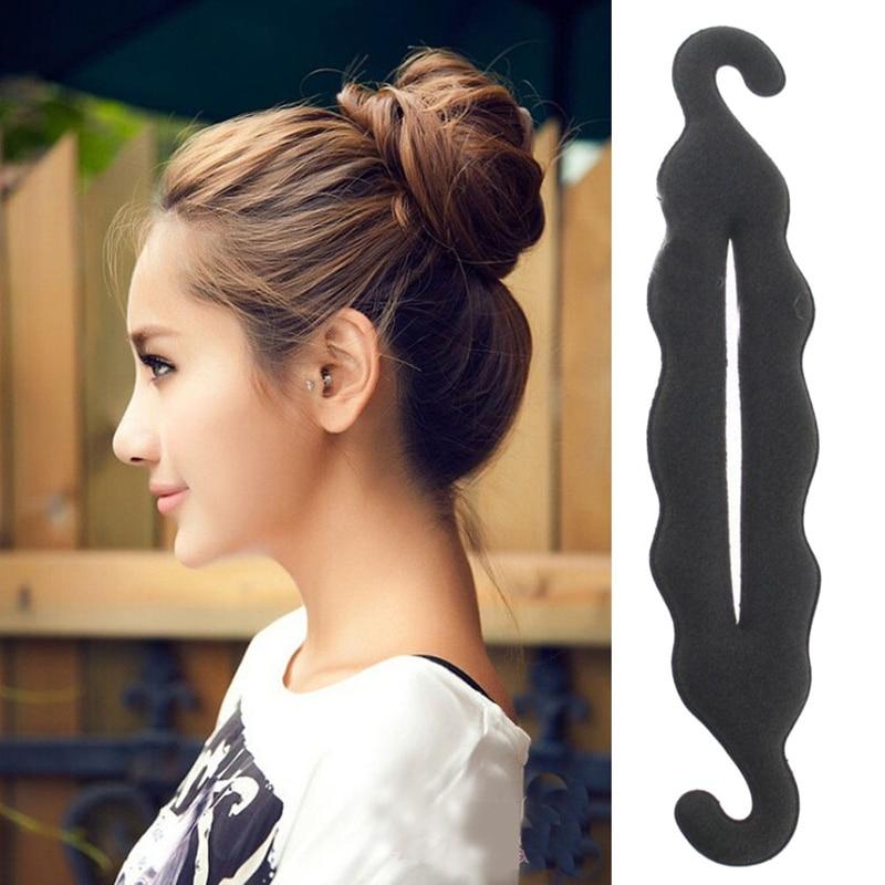 Women Hair Accessories Solid Black Sponge Hair Donut Quick Messy Bun Hairstyle Tool Headband Hair Twist Hairclip   Headwear