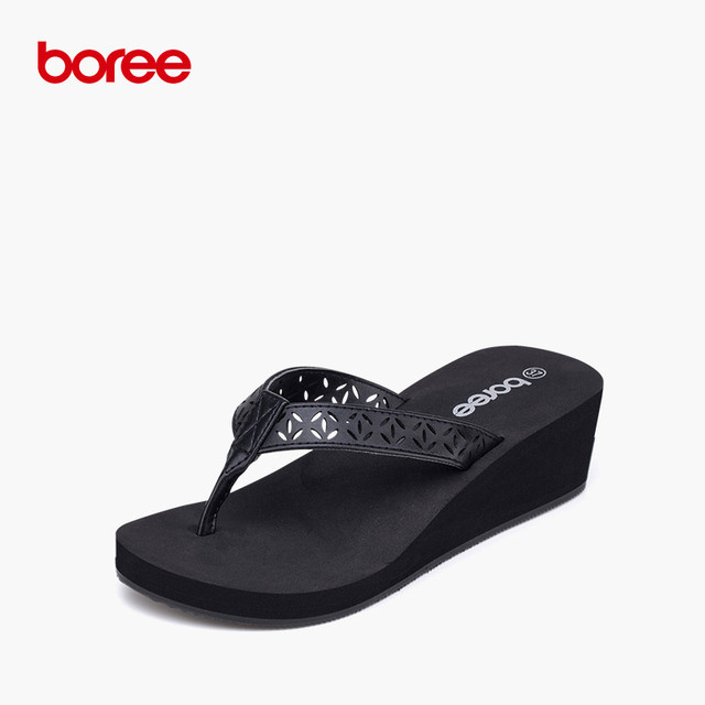 Damen High Heels Schuhe Neue Casual Flip-Flops Rutschfeste Slip-Sandalen mit Dicken Sohlen Mode Diamanten Sandalen Flip-Flops Strandschuhe Keil-Wohnungen,A-36