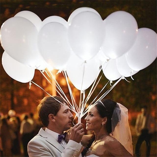 100 ADET LED düğün parti balonlar beyaz glow aniversario