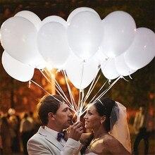 100 قطعة LED بالونات حفلات الزفاف الأبيض توهج aniversario