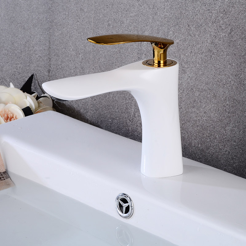 Basin Faucets White with Gold Bathroom Faucet Single handle Basin Mixer Tap Hot and Cold Water