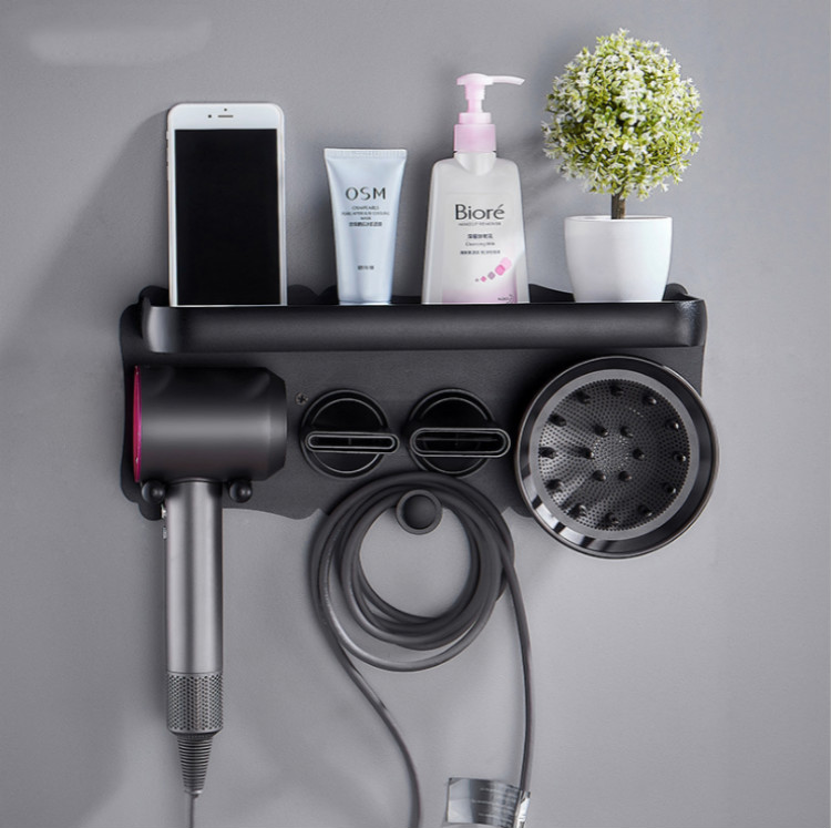 Hair Dryer Holder SUS 304 Stainless Steel Dyson Hair Dryer Holder Wall Mount Adhesive Screws Mounting Rack Organizer for Dyson S in Bathroom Shelves from Home Improvement
