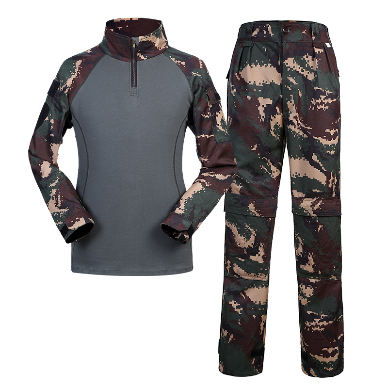 Men Outdoor Hunting Clothes Men's Tactical Suit Military Army Hunting Suit Camouflage Clothing Long Sleeve T shirt and Pants Men camo suit outdoor game military hunting and shooting accessories tactical camouflage clothing blind for airsoft wildlife photog