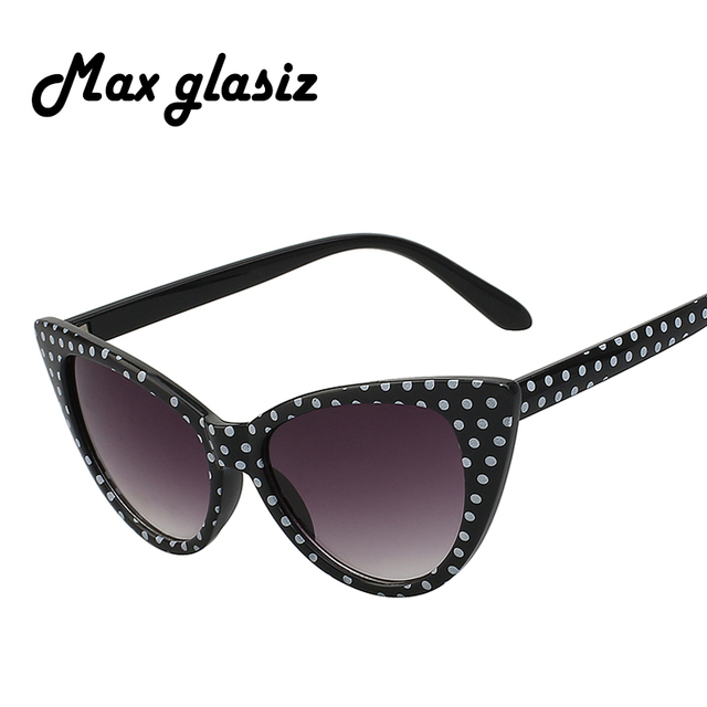 e1bcfdc2bd22 Cat Eye Old Style Women Sunglasses Dots Vintage Sexy Female Fashion Sun  Glasses Super Cute Stylish Girls Womens UV Eyewear
