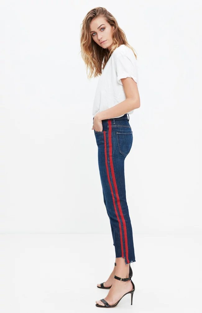 Fetoo 17 High waist jeans women skinny flare pants side stripe Spliced jeans moustache street ankle-length pants elegant S-XL 8