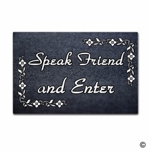 Rubber Doormat For Entrance Door Floor Mat Speak Friend And Enter Non-slip 23.6 by 15.7 Inch Machine Washable Non-woven