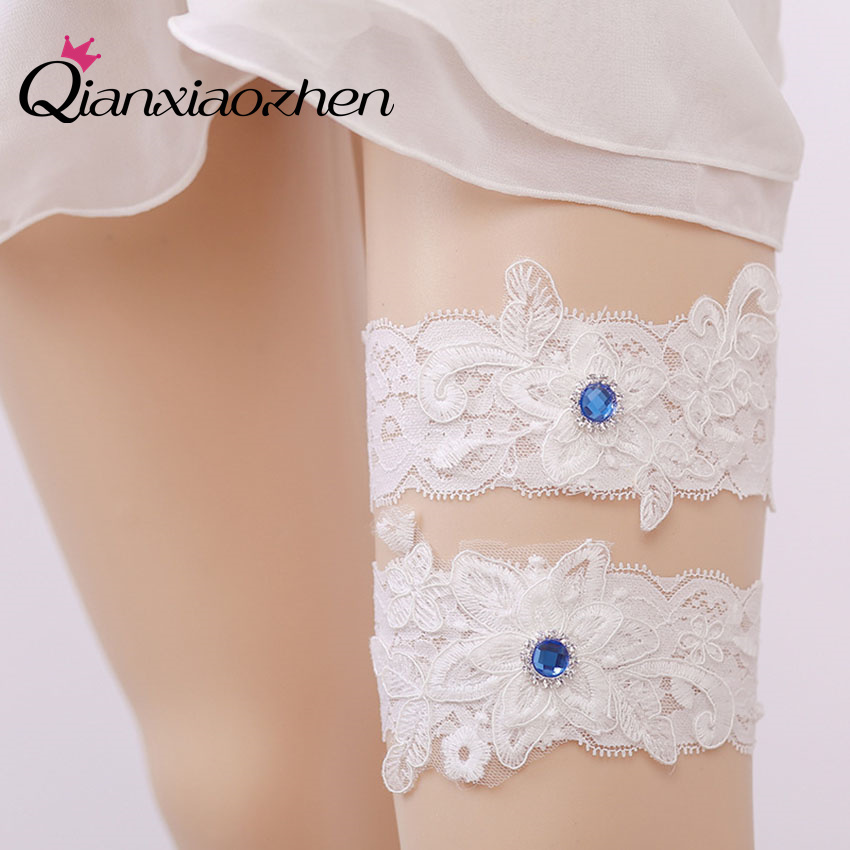 Why Two Garters For Wedding: Qianxiaozhen 2pcs/set Sapphire Lace Leg Wedding Garter