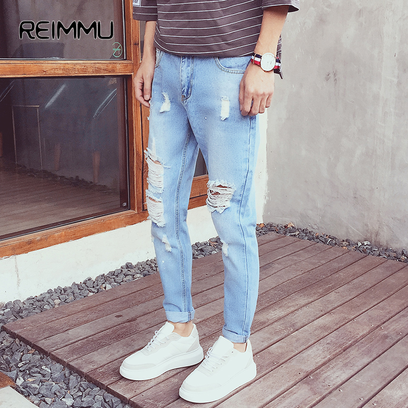 2017 New Arrival Ankel-Length Ripped Jeans Men Famous Brand Male Denim Jumpsuit Casual Skinny Jeans Pants Brand Clothing HotSale denim overalls male suspenders front pockets men s ripped jeans casual hole blue bib jeans boyfriend jeans jumpsuit or04