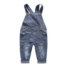 Baby Boy Girl Denim Bib Jeans Trousers 2017 Spring New Arrival Children Clothing with Pockets Korean Kids Patchwork Belt Pants