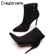Craylorvans 2018 Winter Autumn Women Boots Black Flock Ankle 10CM Heel Height Red Bottom Pointed Toe Boot for