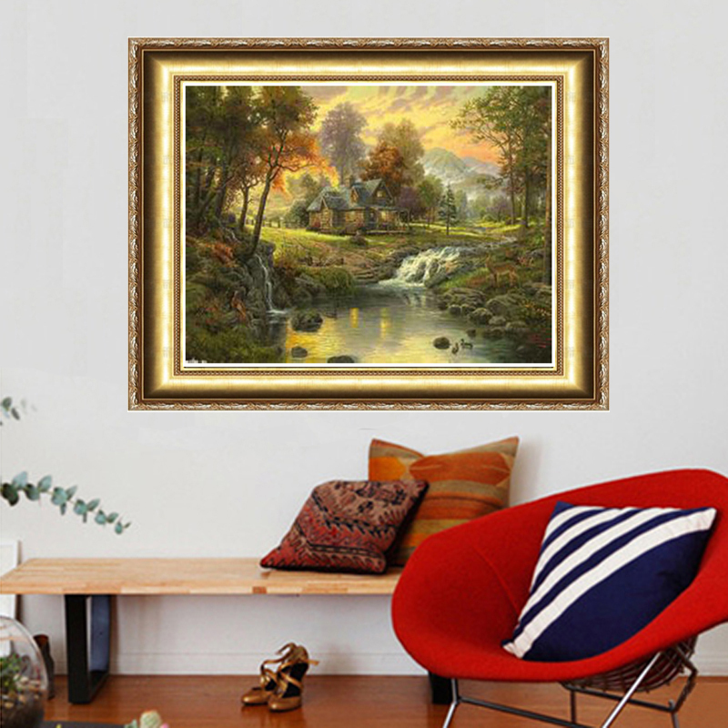 Free Shipping NEW DIY 3D Diamond Painting Sewing Rhinestones Crystal Art Craft Plastic Canvas Home Decor Mountain House River