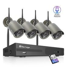 Techage 4CH Sistema Cctv Wireless 1080P Hd Nvr 4 Pcs 2.0MP Ir Esterna Impermeabile P2P Wifi Sistema di Telecamere di Sicurezza kit di Sorveglianza