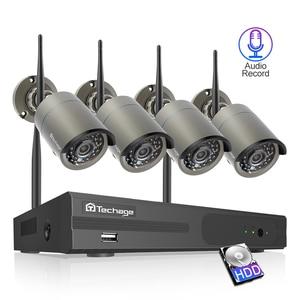 Image 1 - Techage 4CH Sistema Cctv Wireless 1080P Hd Nvr 4 Pcs 2.0MP Ir Esterna Impermeabile P2P Wifi Sistema di Telecamere di Sicurezza kit di Sorveglianza